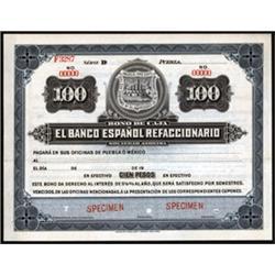 Bono De Caja. El Banco Espanol Refaccionario.