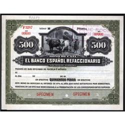 Bono De Caja. El Banco Espanol Refaccionario Specimen Banknote.