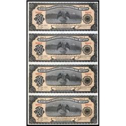 Ejercito Constitucionalista De Mexico, Decree of February 12, 1914 Uncut Sheet of 4 Notes.