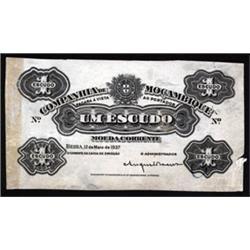 Companhia De Mozambique, 1937 Issue Proof Banknote.