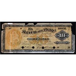 El Banco Del Peru, 1864-77 Issue Specimen.