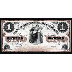 El Banco Del Valle De Chicama Color Trial Proof Banknote.