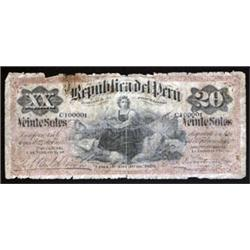 Republica Del Peru Banknote Assortment, 1879 Issues.