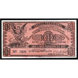 Iquitos Revolution, Guillermo Cervantes, 1921 Cheque Provisional Issue.
