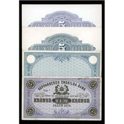 Kopparbergs Enskilda Bank, 1878 Issue, Proof Banknote.