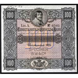 Christianstads Enskilda Bank, 1875 Second Issue Specimen Banknote.