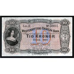 Westerbottens Enskilda Bank, 1875 Second Issue Specimen Banknote.