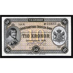 Christianstads Enskilda Bank, 1875 Second Issue Specimen Banknote.