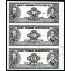 Banco Central De Venezuela Uncut Essay Proof Sheet of 3 Banknotes.