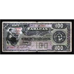 El Banco de Caracas, 1925 Provisional Issue Rarity.