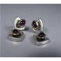 A Pair of Sterling Silver and Gold Vermeil Amethyst Drop Earrings,