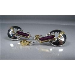 A Pair of Sterling Silver and Gold Vermeil Amethyst and Citrine Drop Earrings,