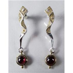 A Pair of Contemporary Sterling Silver and Gold Vermeil Garnet Drop Earrings.