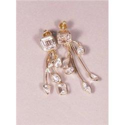 A Pair of 14 kt Yellow Gold and White Sapphire Dangle Earrings,