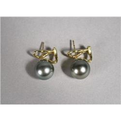 A Pair of Ladies 18 kt Yellow Gold, Tahitian Pearl Stud Earrings.