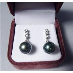 A Pair of 18 kt White Gold, Black Pearl and Diamond Drop Earrings,