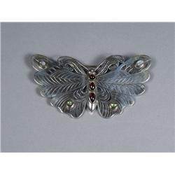 A Sterling Silver Garnet, Peridot and Moonstone Butterfly Brooch,
