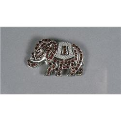 A Sterling Silver and Garnet Elephant Form Brooch,