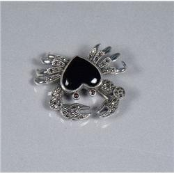 A Sterling Silver Onyx, Garnet and Marcasite Crab Form Brooch,