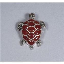 A Sterling Silver Marcasite and Carnelian Kinetic Turtle Form Brooch,
