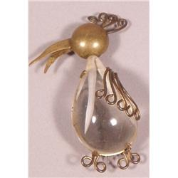 A French Deco Raw Crystal and Brass Bronze Bird Shaped Brooch.