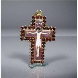 A Sterling Silver and Gold Vermeil and Garnet Crucifix Pendant,