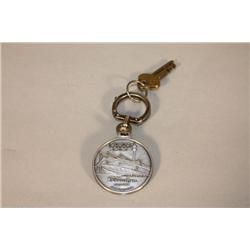 A 1938 Munich Olympic Souvenir Key Chain, with Vintage American Locker Key,