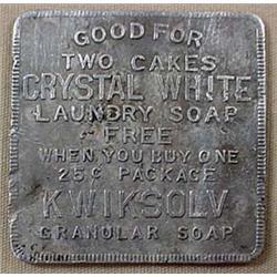 1920'S Crystal White Laundry Soap Aluminum Trade T