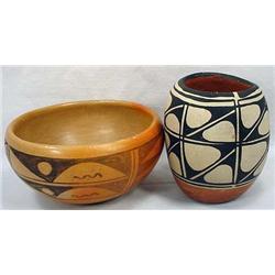 Lot Of 2 Vintage Native American Indian Pots - Hop