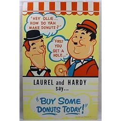 Vintage Laurel And Hardy Donut Advertising Sign -