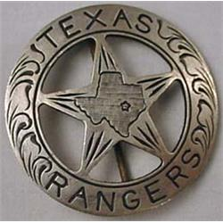 Old West Texas Ranger Cowboy Law Badge - A Silver