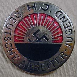German Nazi Enameled Pinback - Marked H.J. Deutsch