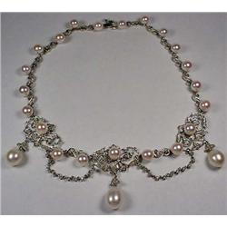 14K White Gold Ladies Cultured Pearl And Diamond N