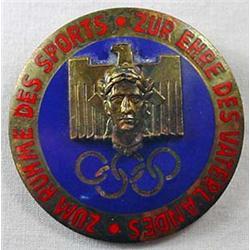 Ww2 German Nazi 1936 Berlin Olympics Enameled Badg
