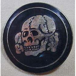 Ww2 German Nazi Enameled Pinback - Poss. Totenkopf