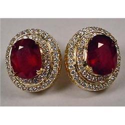 Pair Of 14K Gold Ladies Ruby And Diamond Earrings