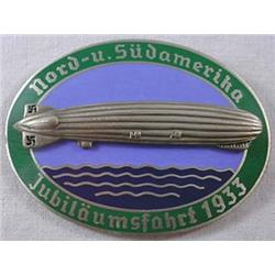 Ww2 German Nazi 1933 Zeppelin Enameled Badge - Mak