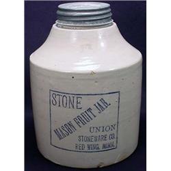 Antique Union Stoneware Mason Fruit Jar Red Wing,