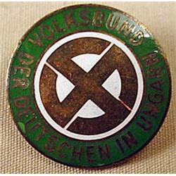 Ww2 Era Hungarian Nazi Party Enameled Pinback - Ma