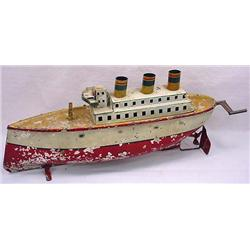 Rare Vintage German Ocean Liner Wind Up Toy - Cond