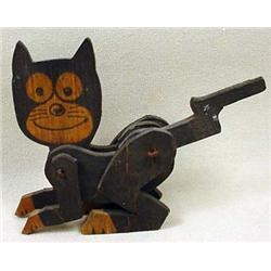 Vintage Felix The Cat Wooden Mechanical Toy
