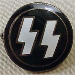 Ww2 German Nazi Ss Enameled Pinback - Marked On Ba