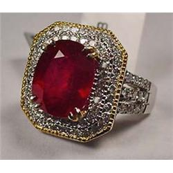 14K Yellow And White Gold Ladies Ruby And Diamond