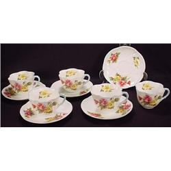 Lot Of 5 Vintage Shelley Begonia Dainty Cups And S