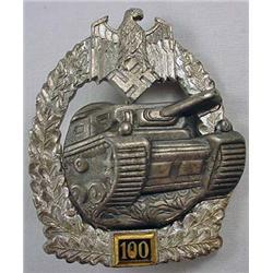 Ww2 German Nazi Army 100 Tank Assault Badge