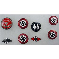 Lot Of 6 Ww2 German Nazi Enameled Nsdap Political