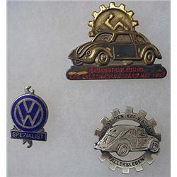 Lot Of 3 Ww2 German Nazi Volkswagon Vw Badges