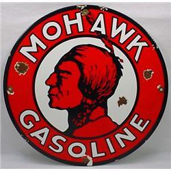 Vintage Mohawk Gasoline Porcelain Advertising Sign