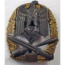 "Ww2 German Nazi Army ""100"" General Assault Badge -"
