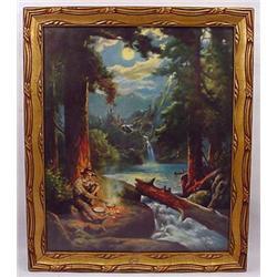 Vintage George Wood Camping Art Print - Framed - B
